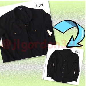 Charlotte Russe Black Double Sided Button Down Top